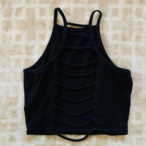 Charlotte Russe, black open back crop tank